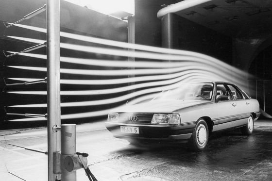 audi 100 in wind tunnel